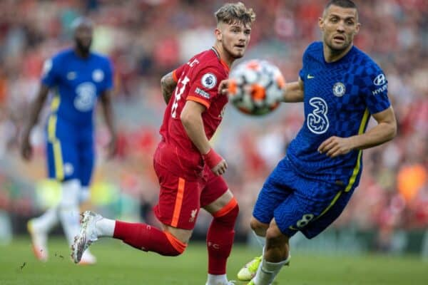 LIVERPOOL, ENGLAND - Saturday, August 28, 2021: Liverpool's Harvey Elliott (L) during the FA Premier League match between Liverpool FC and Chelsea FC at Anfield. (Pic by David Rawcliffe/Propaganda)