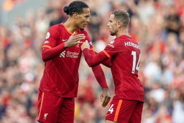 LIVERPOOL, ENGLAND - Saturday, August 28, 2021: Liverpool's captain Jordan Henderson hands the captain's armband to Virgil van Dijk as he is substituted during the FA Premier League match between Liverpool FC and Chelsea FC at Anfield. (Pic by David Rawcliffe/Propaganda)