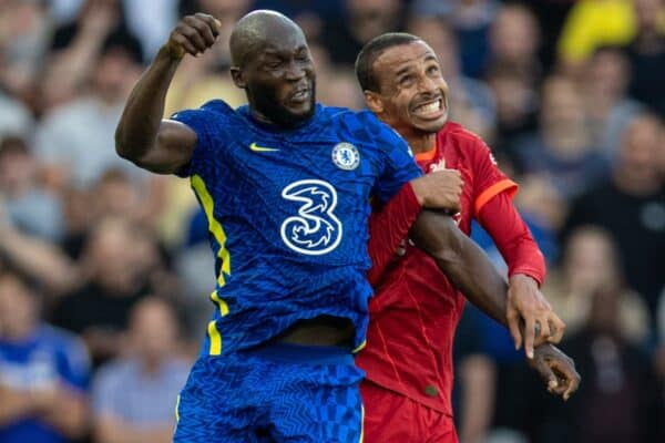 LIVERPOOL, ENGLAND - Saturday, August 28, 2021: Chelsea's Romelu Lukaku (L) challenges for a header with Liverpool's Joel Matip during the FA Premier League match between Liverpool FC and Chelsea FC at Anfield. (Pic by David Rawcliffe/Propaganda)