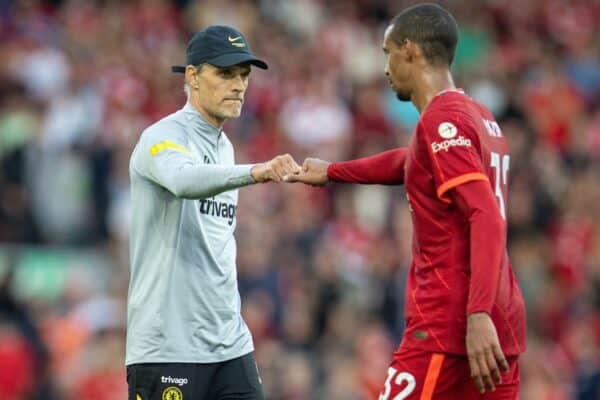 LIVERPOOL, ENGLAND - Saturday, August 28, 2021: Chelsea's manager Thomas Tuchel fist bumps Liverpool's Joel Matip after the FA Premier League match between Liverpool FC and Chelsea FC at Anfield. (Pic by David Rawcliffe/Propaganda)