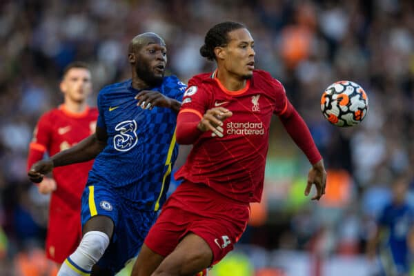 LIVERPOOL, ENGLAND - Saturday, August 28, 2021: Liverpool's Virgil van Dijk (R) and Chelsea's Romelu Lukaku during the FA Premier League match between Liverpool FC and Chelsea FC at Anfield. (Pic by David Rawcliffe/Propaganda)