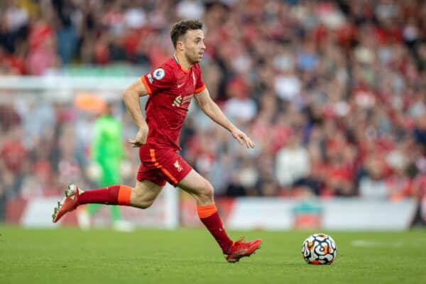 LIVERPOOL, ENGLAND - Saturday, August 28, 2021: Liverpool's Diogo Jota during the FA Premier League match between Liverpool FC and Chelsea FC at Anfield. (Pic by David Rawcliffe/Propaganda)