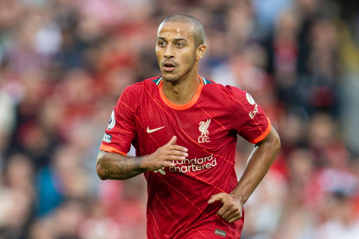 LIVERPOOL, ENGLAND - Saturday, August 28, 2021: Liverpool's Thiago Alcantara during the FA Premier League match between Liverpool FC and Chelsea FC at Anfield. (Pic by David Rawcliffe/Propaganda)
