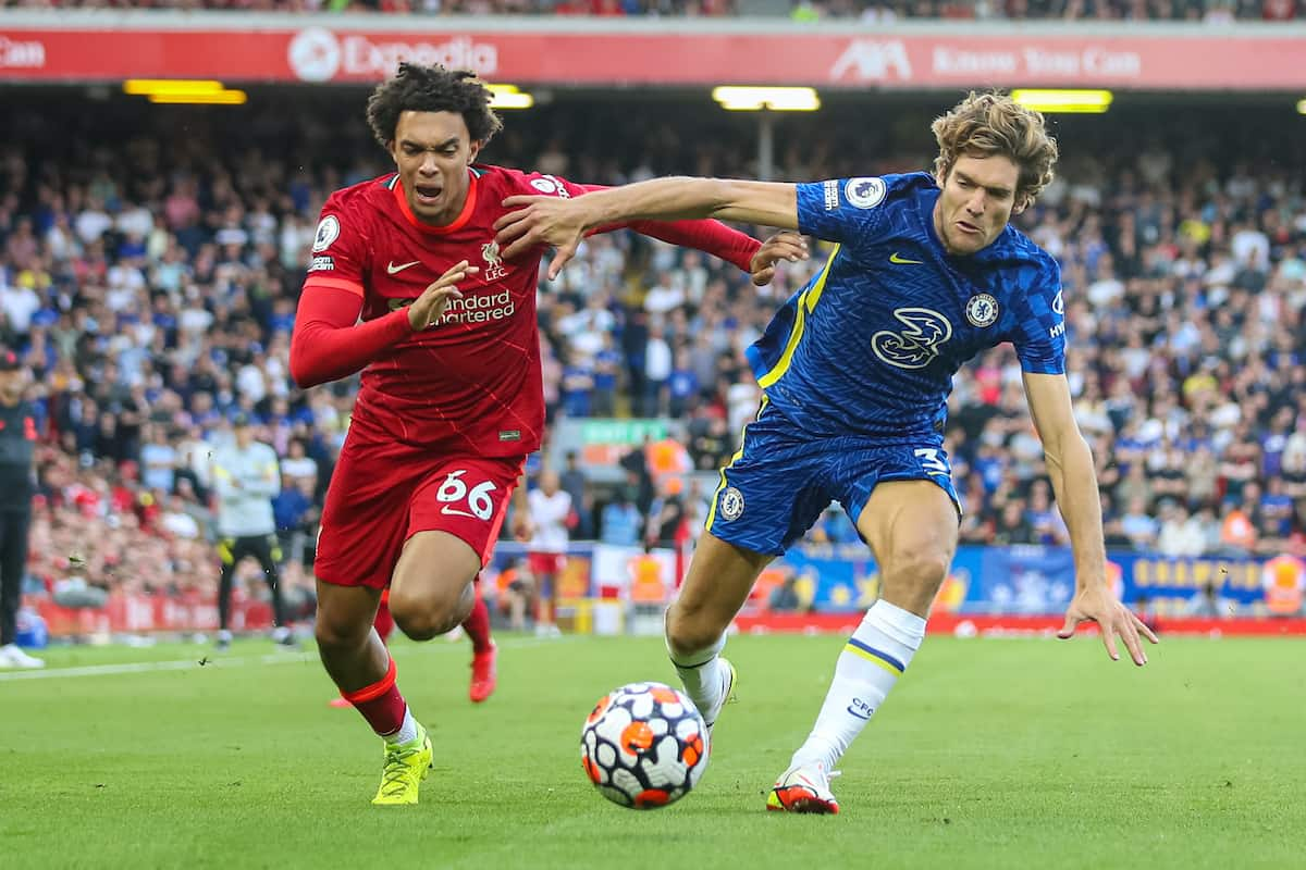 LIVERPOOL, ENGLAND - Saturday, August 28, 2021: Liverpool's Trent Alexander-Arnold (L) and Chelsea's Marcos Alonso during the FA Premier League match between Liverpool FC and Chelsea FC at Anfield. (Pic by David Rawcliffe/Propaganda)