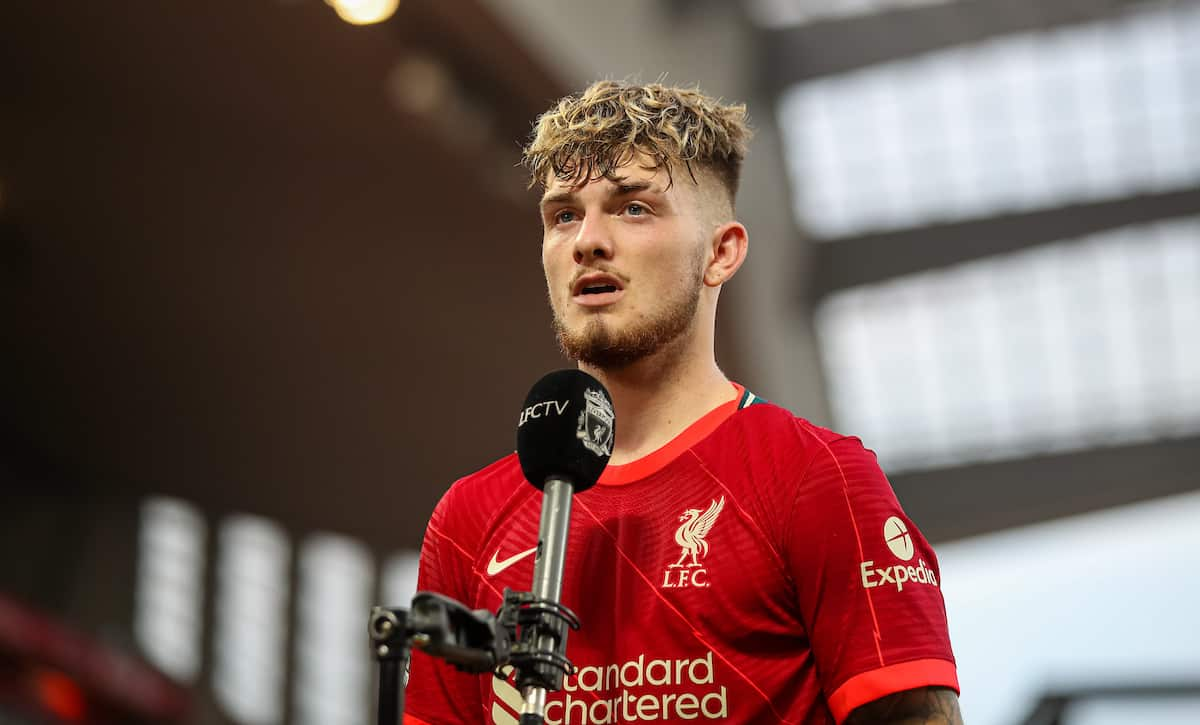 LIVERPOOL, ENGLAND - Saturday, August 28, 2021: Liverpool's Harvey Elliott is interviewed by LFC.TV after the FA Premier League match between Liverpool FC and Chelsea FC at Anfield. (Pic by David Rawcliffe/Propaganda)