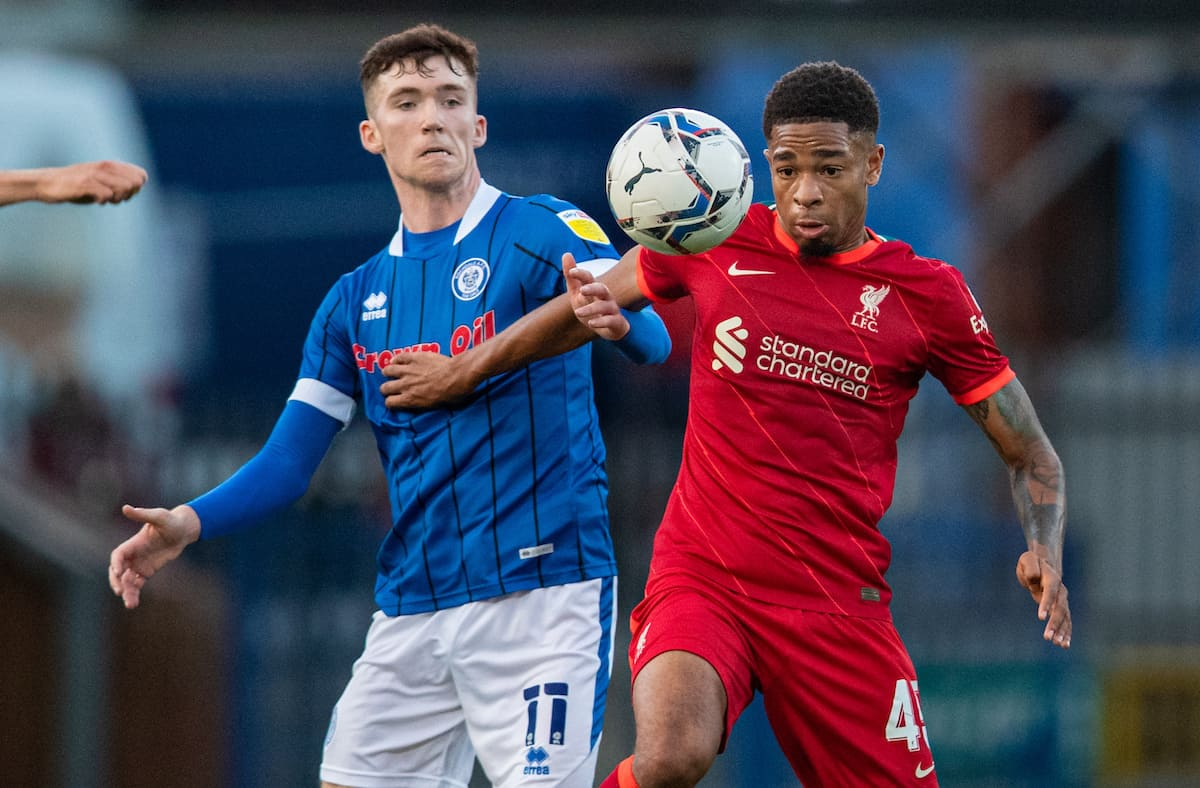 ROCHDALE, ENGLAND - Tuesday, August 31, 2021: Liverpool's Elijah Dixon-Bonner (R) and Rochdale's Conor Grant during the English Football League Trophy match between Rochdale AFC and Liverpool FC Under-21's at Spotland Stadium. (Pic by David Rawcliffe/Propaganda)