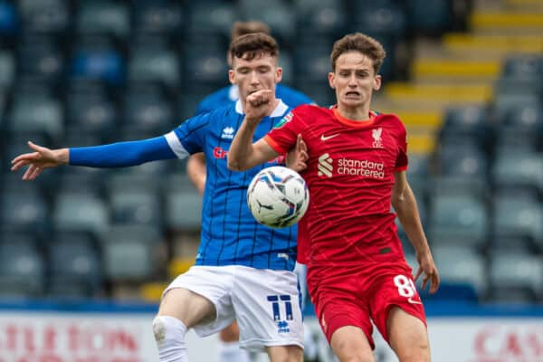 ROCHDALE, ENGLAND - Tuesday, August 31, 2021: Liverpool's Tyler Morton (R) is challenged by Rochdale's Conor Grant during the English Football League Trophy match between Rochdale AFC and Liverpool FC Under-21's at Spotland Stadium. (Pic by David Rawcliffe/Propaganda)