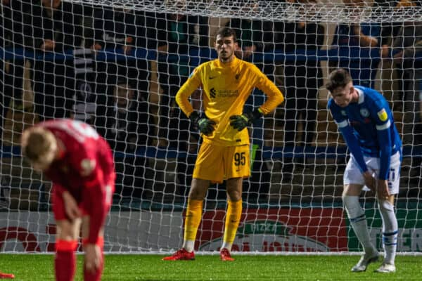 ROCHDALE, ENGLAND - Tuesday, August 31, 2021: Liverpool's goalkeeper Harvey Davies looks dejected as Rochdale score a third goal during the English Football League Trophy match between Rochdale AFC and Liverpool FC Under-21's at Spotland Stadium. (Pic by David Rawcliffe/Propaganda)