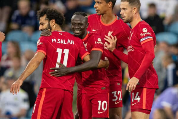 Liverpool's Sadio Mané (2nd from L) celebrates after scoring the third goal during the FA Premier League match between Leeds United FC and Liverpool FC at Elland Road. (Pic by David Rawcliffe/Propaganda)
