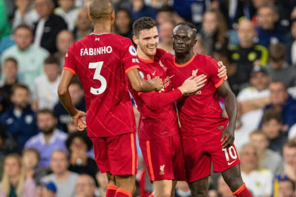 LEEDS, ENGLAND - Sunday, September 12, 2021: Liverpool's Sadio Mané (R) celebrates with team-mate Andy Robertson after scoring the third goal during the FA Premier League match between Leeds United FC and Liverpool FC at Elland Road. (Pic by David Rawcliffe/Propaganda)