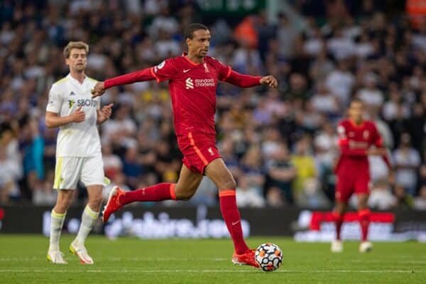 LEEDS, ENGLAND - Sunday, September 12, 2021: Liverpool's Joel Matip during the FA Premier League match between Leeds United FC and Liverpool FC at Elland Road. (Pic by David Rawcliffe/Propaganda)