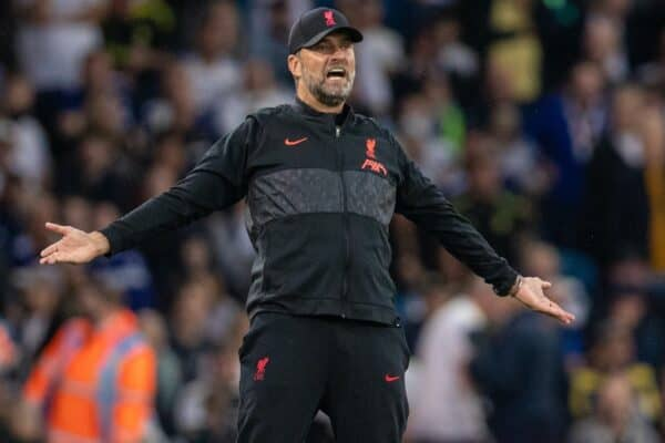 Liverpool's manager Jürgen Klopp reacts during the FA Premier League match between Leeds United FC and Liverpool FC at Elland Road. (Pic by David Rawcliffe/Propaganda)