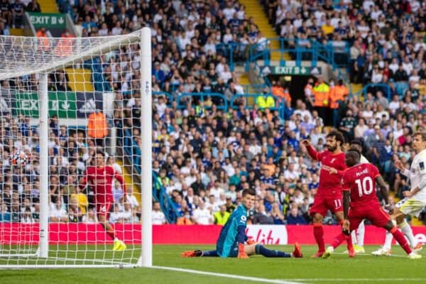 LEEDS, ENGLAND - Sunday, September 12, 2021: Liverpool's Mohamed Salah goal during the FA Premier League match between Leeds United FC and Liverpool FC at Elland Road. (Pic by David Rawcliffe/Propaganda)