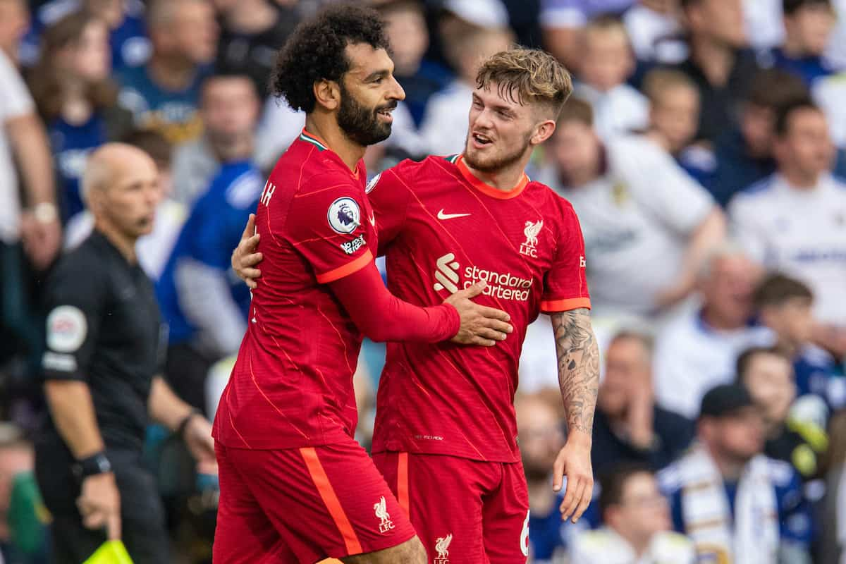 LEEDS, ENGLAND - Sunday, September 12, 2021: Liverpool's Mohamed Salah celebrates with team-mate Harvey Elliott after scoring the first goal during the FA Premier League match between Leeds United FC and Liverpool FC at Elland Road. (Pic by David Rawcliffe/Propaganda)
