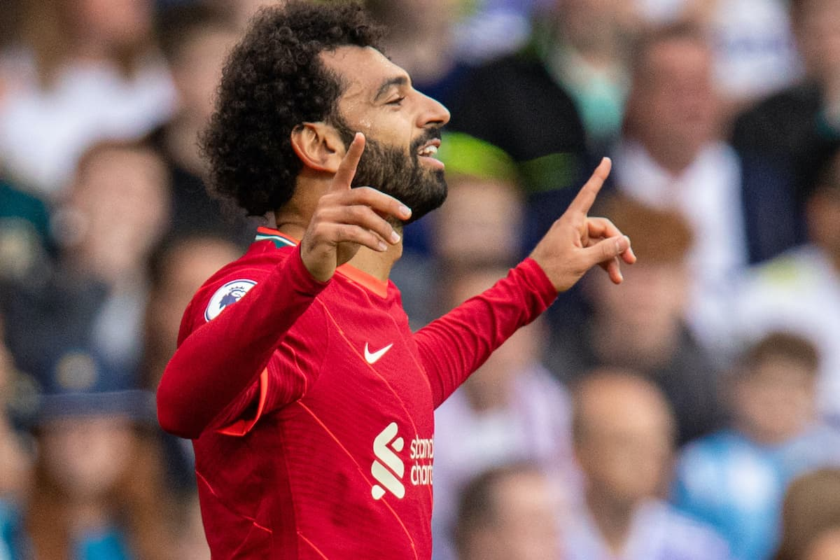 LEEDS, ENGLAND - Sunday, September 12, 2021: Liverpool's Mohamed Salah celebrates after scoring the first goal during the FA Premier League match between Leeds United FC and Liverpool FC at Elland Road. (Pic by David Rawcliffe/Propaganda)