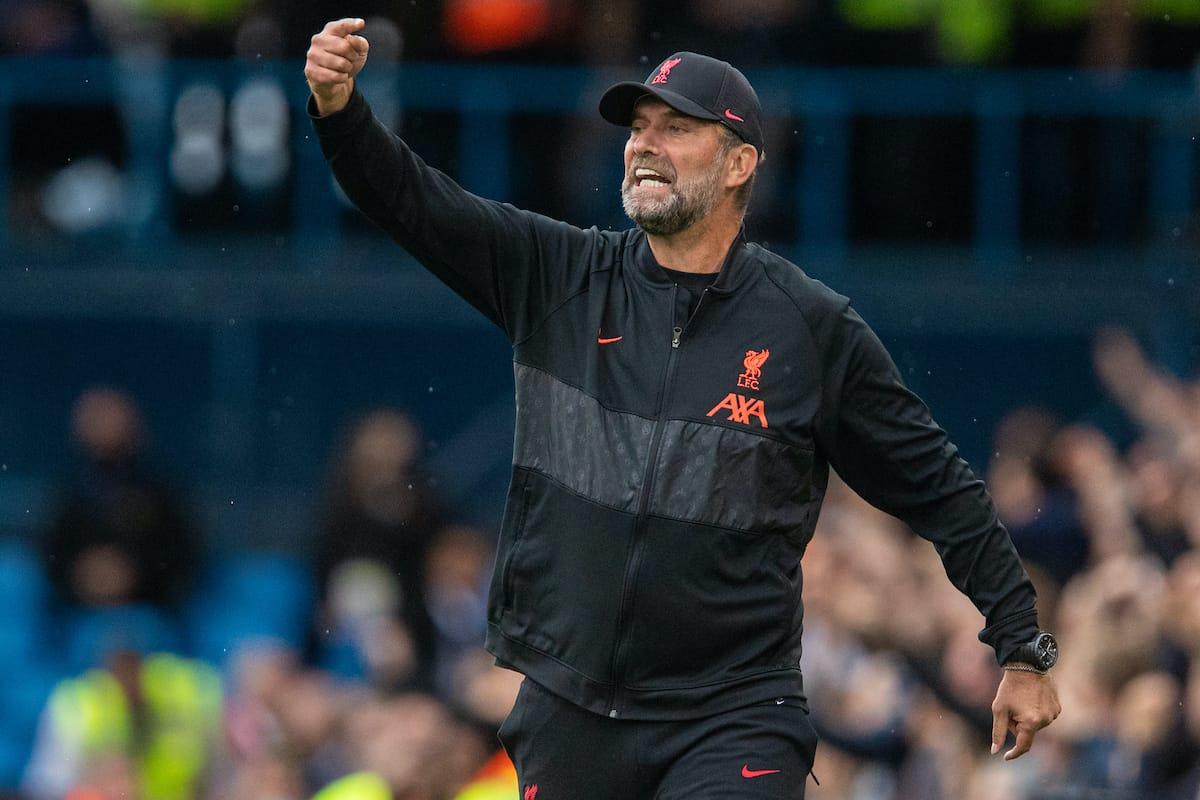 LEEDS, ENGLAND - Sunday, September 12, 2021: Liverpool's manager Jürgen Klopp during the FA Premier League match between Leeds United FC and Liverpool FC at Elland Road. (Pic by David Rawcliffe/Propaganda)
