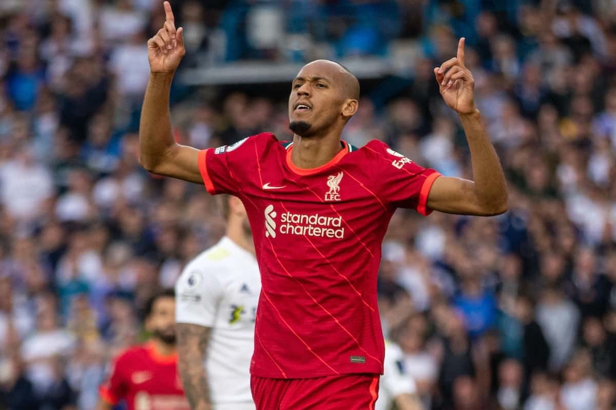 LEEDS, ENGLAND - Sunday, September 12, 2021: Liverpool's Fabio Henrique Tavares 'Fabinho' celebrates after scoring the second goal during the FA Premier League match between Leeds United FC and Liverpool FC at Elland Road. (Pic by David Rawcliffe/Propaganda)
