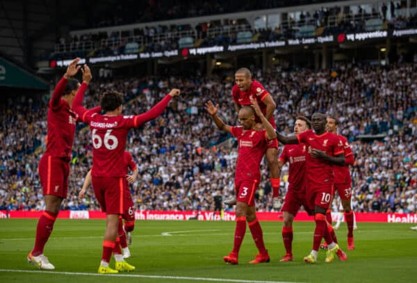 Liverpool's Fabio Henrique Tavares 'Fabinho' celebrates after scoring the second goal during the FA Premier League match between Leeds United FC and Liverpool FC at Elland Road. (Pic by David Rawcliffe/Propaganda)