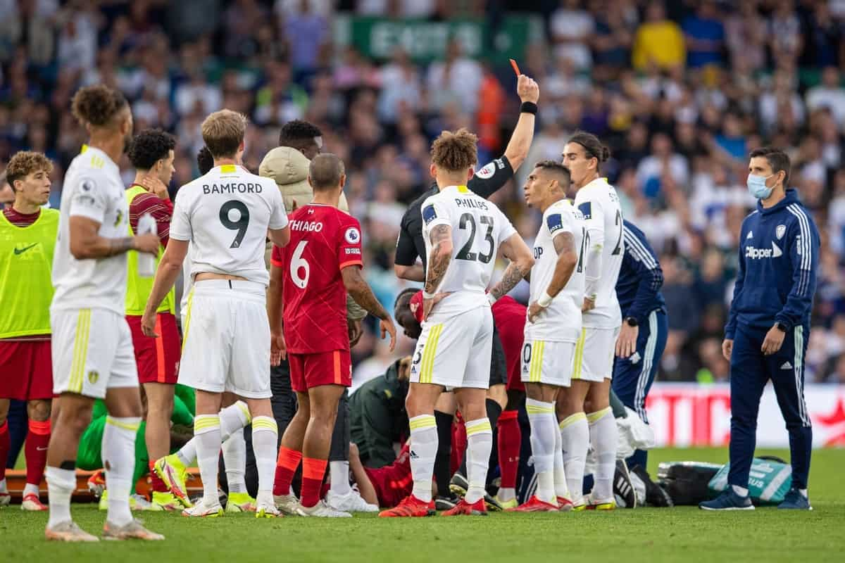 LEEDS, ENGLAND - Sunday, September 12, 2021: Leeds United's Pascal Struijk (R) is shown a red card and sent off during the FA Premier League match between Leeds United FC and Liverpool FC at Elland Road. (Pic by David Rawcliffe/Propaganda)