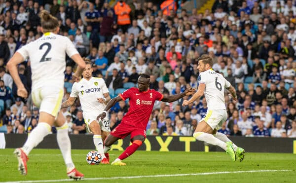 LEEDS, ENGLAND - Sunday, September 12, 2021: Liverpool's Sadio Mané scores the third goal during the FA Premier League match between Leeds United FC and Liverpool FC at Elland Road. (Pic by David Rawcliffe/Propaganda)