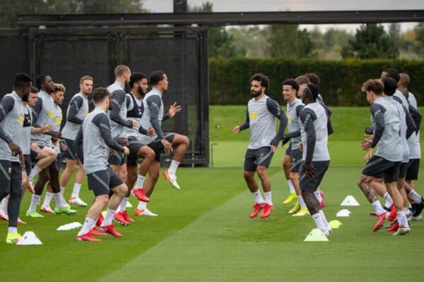 LIVERPOOL, ENGLAND - Tuesday, September 14, 2021: Liverpool players during a training session at the AXA Training Centre ahead of the UEFA Champions League Group B Matchday 1 game between Liverpool FC and AC MIlan. (Pic by David Rawcliffe/Propaganda)