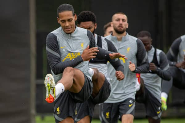 LIVERPOOL, ENGLAND - Tuesday, September 14, 2021: Liverpool's Virgil van Dijk during a training session at the AXA Training Centre ahead of the UEFA Champions League Group B Matchday 1 game between Liverpool FC and AC MIlan. (Pic by David Rawcliffe/Propaganda)