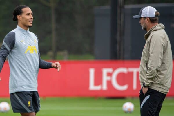 LIVERPOOL, ENGLAND - Tuesday, September 14, 2021: Liverpool's Virgil van Dijk (L) chats with manager Jürgen Klopp during a training session at the AXA Training Centre ahead of the UEFA Champions League Group B Matchday 1 game between Liverpool FC and AC MIlan. (Pic by David Rawcliffe/Propaganda)