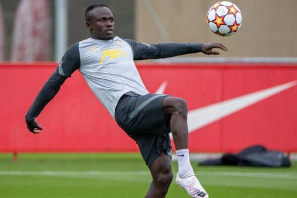 LIVERPOOL, ENGLAND - Tuesday, September 14, 2021: Liverpool's Sadio Mané during a training session at the AXA Training Centre ahead of the UEFA Champions League Group B Matchday 1 game between Liverpool FC and AC MIlan. (Pic by David Rawcliffe/Propaganda)