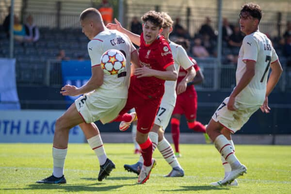 LIVERPOOL, ENGLAND - Wednesday, September 15, 2021: Liverpool's Owen Beck is blocked by AC Milan's Andrei Coubis, but was shown a yellow card, during the UEFA Youth League Group B Matchday 1 game between Liverpool FC Under19's and AC Milan Under 19's at the Liverpool Academy. (Pic by David Rawcliffe/Propaganda)