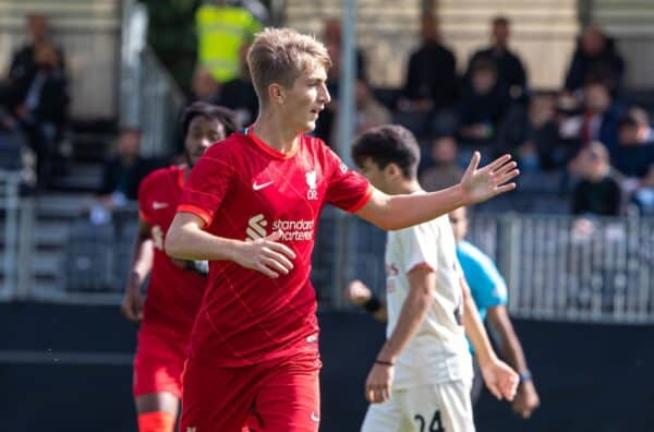 LIVERPOOL, ENGLAND - Wednesday, September 15, 2021: Liverpool's Max Woltman celebrates after scoring the first goal during the UEFA Youth League Group B Matchday 1 game between Liverpool FC Under19's and AC Milan Under 19's at the Liverpool Academy. (Pic by David Rawcliffe/Propaganda)