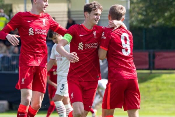 LIVERPOOL, ENGLAND - Wednesday, September 15, 2021: Liverpool's Max Woltman (R) celebrates after scoring the first goal during the UEFA Youth League Group B Matchday 1 game between Liverpool FC Under19's and AC Milan Under 19's at the Liverpool Academy. (Pic by David Rawcliffe/Propaganda)