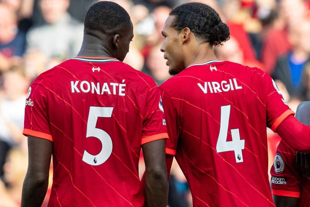 LIVERPOOL, ENGLAND - Saturday, September 18, 2021: Liverpool's Ibrahima Konate and Virgil van Dijk during the FA Premier League match between Liverpool FC and Crystal Palace FC at Anfield. (Pic by David Rawcliffe/Propaganda)