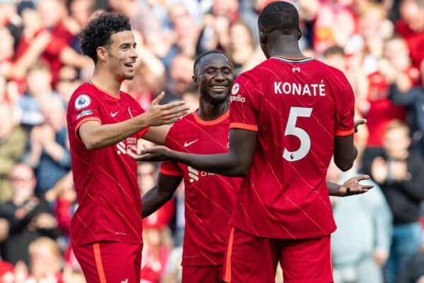 LIVERPOOL, ENGLAND - Saturday, September 18, 2021: Liverpool's Naby Keita (C) celebrates after scoring the third goal during the FA Premier League match between Liverpool FC and Crystal Palace FC at Anfield. (Pic by David Rawcliffe/Propaganda)