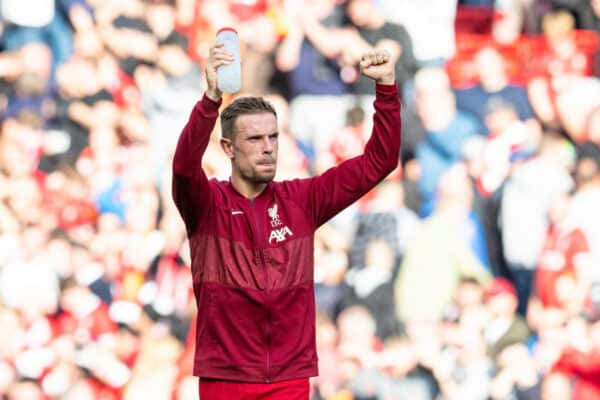 LIVERPOOL, ENGLAND - Saturday, September 18, 2021: Liverpool's captain Jordan Henderson celebrates after the FA Premier League match between Liverpool FC and Crystal Palace FC at Anfield. (Pic by David Rawcliffe/Propaganda)