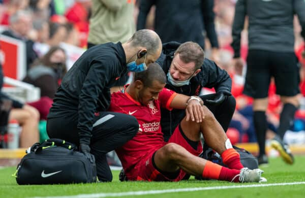 LIVERPOOL, ENGLAND - Saturday, September 18, 2021: Liverpool's Thiago Alcantara is treated for an injury during the FA Premier League match between Liverpool FC and Crystal Palace FC at Anfield. (Pic by David Rawcliffe/Propaganda)