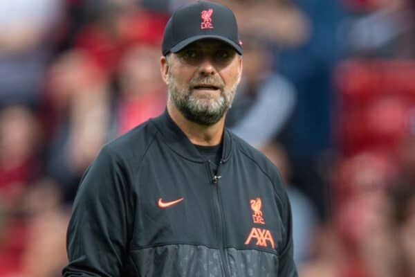 LIVERPOOL, ENGLAND - Saturday, September 18, 2021: Liverpool's manager Jürgen Klopp during the pre-match warm-up before the FA Premier League match between Liverpool FC and Crystal Palace FC at Anfield. (Pic by David Rawcliffe/Propaganda)