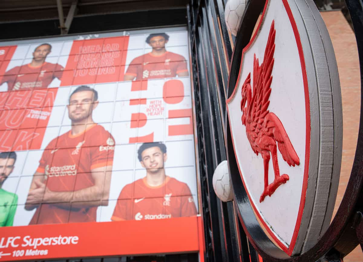 LIVERPOOL, ENGLAND - Saturday, September 18, 2021: Liverpool's crest on the Paisley Gateway pictured before the FA Premier League match between Liverpool FC and Crystal Palace FC at Anfield. (Pic by David Rawcliffe/Propaganda)