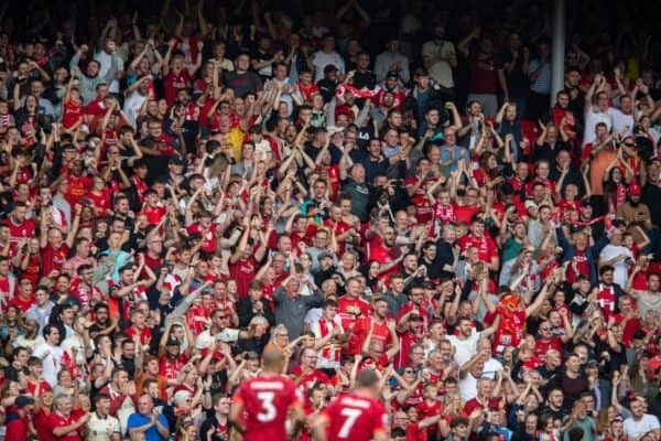 LIVERPOOL, ENGLAND - Saturday, September 18, 2021: Liverpool supporters celebrates after the first goal during the FA Premier League match between Liverpool FC and Crystal Palace FC at Anfield. (Pic by David Rawcliffe/Propaganda)