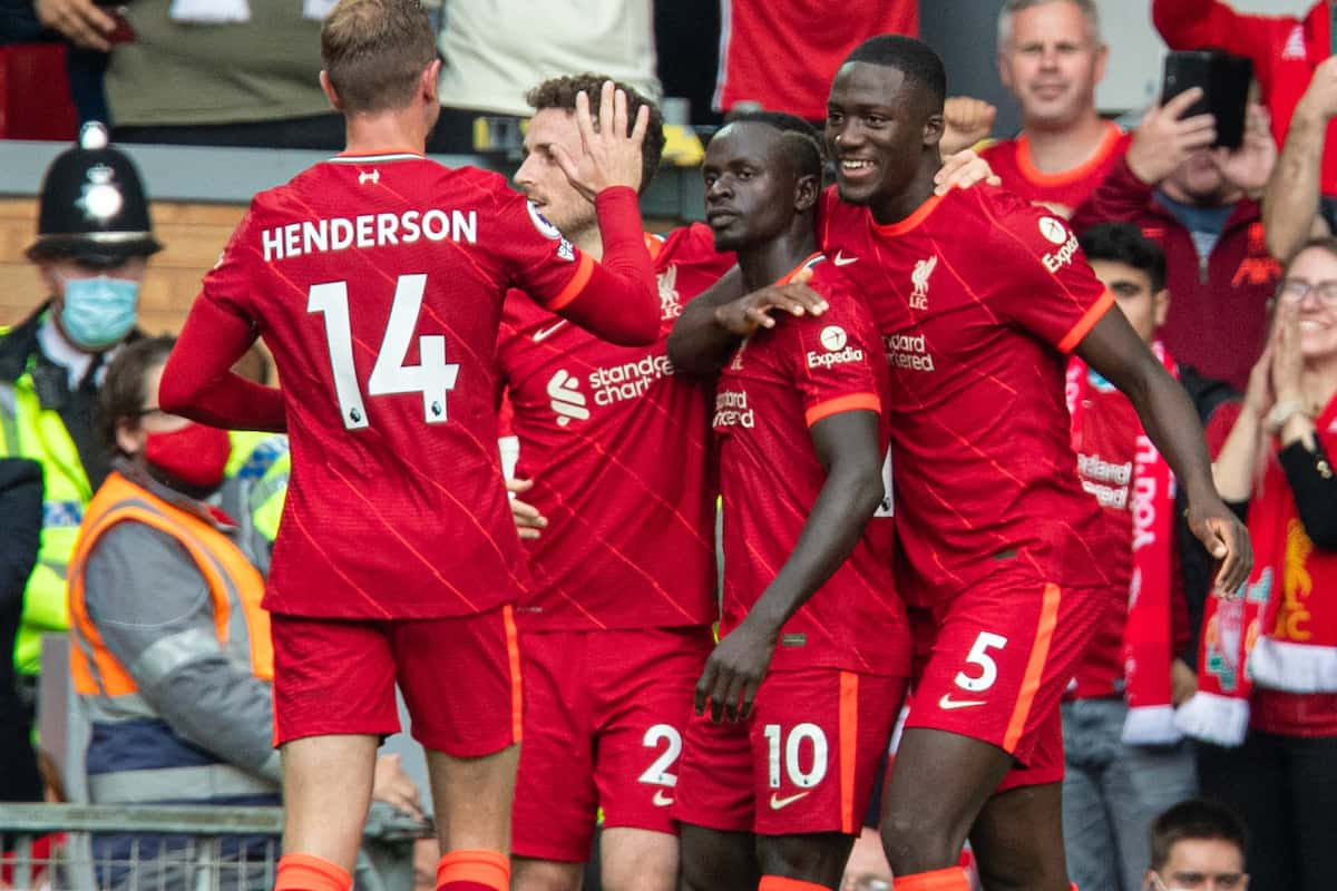 LIVERPOOL, ENGLAND - Saturday, September 18, 2021: Liverpool's Sadio Mané (C) celebrates with team-mates after scoring the first goal during the FA Premier League match between Liverpool FC and Crystal Palace FC at Anfield. (Pic by David Rawcliffe/Propaganda)