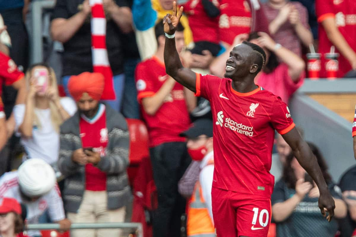 LIVERPOOL, ENGLAND - Saturday, September 18, 2021: Liverpool's Sadio Mané celebrates after scoring the first goal during the FA Premier League match between Liverpool FC and Crystal Palace FC at Anfield. (Pic by David Rawcliffe/Propaganda)