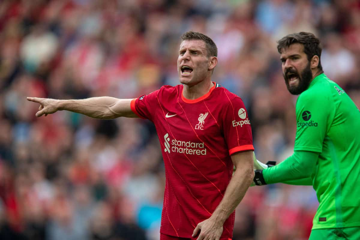 LIVERPOOL, ENGLAND - Saturday, September 18, 2021: Liverpool's James Milner during the FA Premier League match between Liverpool FC and Crystal Palace FC at Anfield. (Pic by David Rawcliffe/Propaganda)