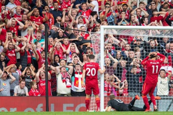 Liverpool supporters react to a missed chance during the FA Premier League match between Liverpool FC and Crystal Palace FC at Anfield. (Pic by David Rawcliffe/Propaganda)