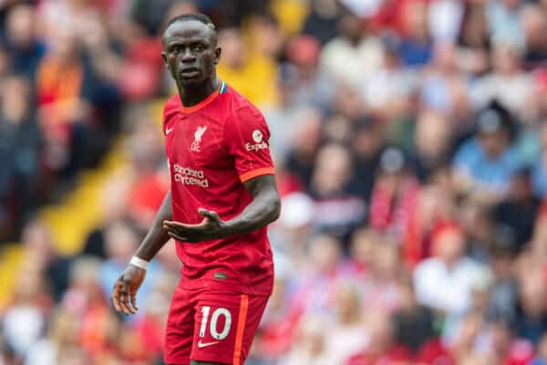 LIVERPOOL, ENGLAND - Saturday, September 18, 2021: Liverpool's Sadio Mané during the FA Premier League match between Liverpool FC and Crystal Palace FC at Anfield. (Pic by David Rawcliffe/Propaganda)