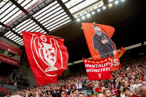 LIVERPOOL, ENGLAND - Saturday, September 18, 2021: Liverpool supporters' banners before the FA Premier League match between Liverpool FC and Crystal Palace FC at Anfield. (Pic by David Rawcliffe/Propaganda)