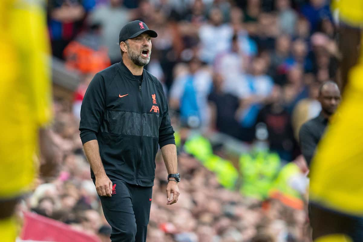 LIVERPOOL, ENGLAND - Saturday, September 18, 2021: Liverpool's manager Jürgen Klopp during the FA Premier League match between Liverpool FC and Crystal Palace FC at Anfield. (Pic by David Rawcliffe/Propaganda)