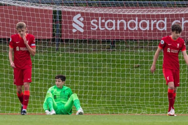 WOLVERHAMPTON, ENGLAND - Sunday, August 29, 2021: Liverpool's goalkeeper Marcelo Pitaluga looks dejected as Leeds United score the third goal during the FA Premier League match between Wolverhampton Wanderers FC and Manchester United FC at Molineux Stadium. (Pic by David Rawcliffe/Propaganda)