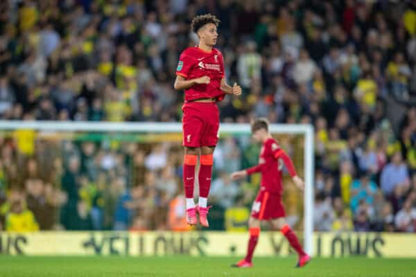 NORWICH, ENGLAND - Tuesday, September 21, 2021: Liverpool's Kaide Gordon before the Football League Cup 3rd Round match between Norwich City FC and Liverpool FC at Carrow Road. (Pic by David Rawcliffe/Propaganda)