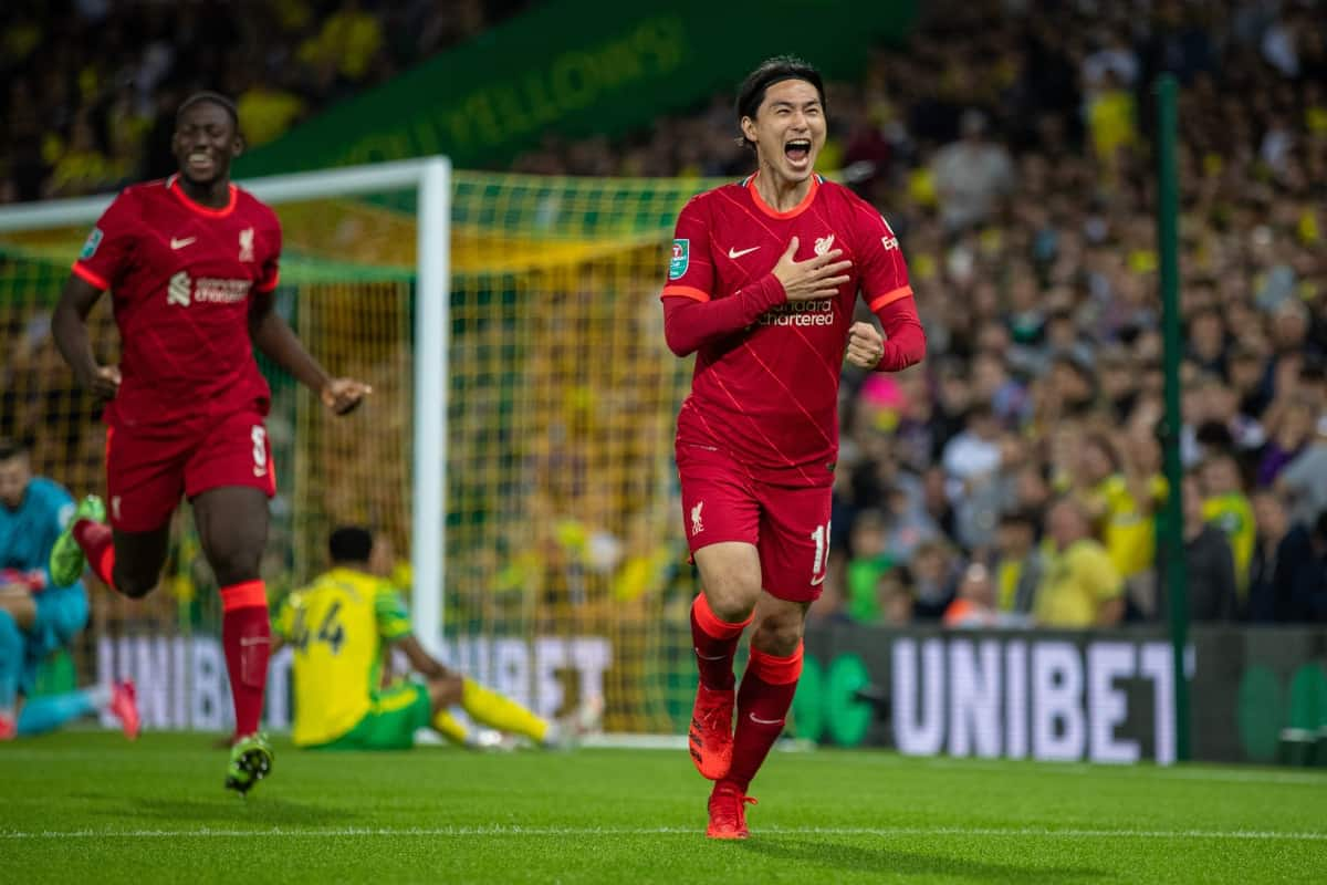 NORWICH, ENGLAND - Tuesday, September 21, 2021: Liverpool's Takumi Minamino celebrates after scoring the first goal during the Football League Cup 3rd Round match between Norwich City FC and Liverpool FC at Carrow Road. (Pic by David Rawcliffe/Propaganda)