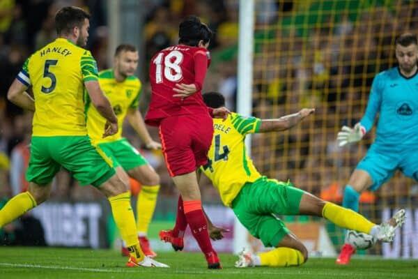 NORWICH, ENGLAND - Tuesday, September 21, 2021: Liverpool's Takumi Minamino scores the first goal during the Football League Cup 3rd Round match between Norwich City FC and Liverpool FC at Carrow Road. (Pic by David Rawcliffe/Propaganda)