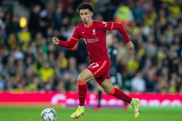 NORWICH, ENGLAND - Tuesday, September 21, 2021: Liverpool's Curtis Jones during the Football League Cup 3rd Round match between Norwich City FC and Liverpool FC at Carrow Road. (Pic by David Rawcliffe/Propaganda)